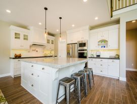 White craftsman kitchen with large island