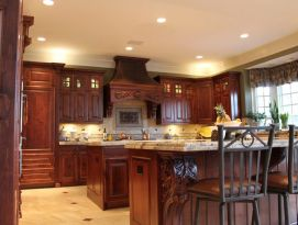 Alder kitchen with great carvings and two islands