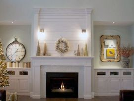 White mantel and built ins