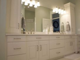 Double sink vanity with lots of storage space