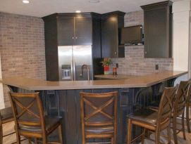 kitchenette with raised bar seating
