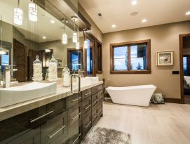 Master bath with bank of drawers vanity