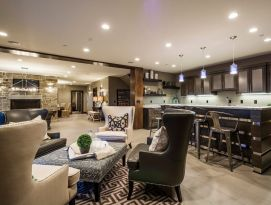 Basement kitchenette and family room