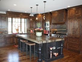 Wood kitchen with black island