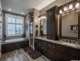 Master bath with garden tub and his & hers sink spaces