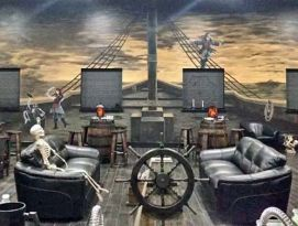 Pirate bar with custom ships wheel