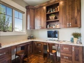 Built in office cabinetry in knotty alder